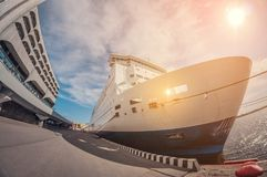 Moored cruise liner in sunny day, fish eye distortion royalty free stock photography