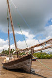 Moored dhow traditional sailing vessel Stock Photo
