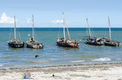Moored dhows Bagamoyo shore Royalty Free Stock Images