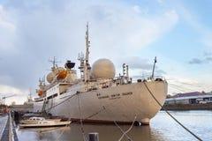 KALININGRAD, RUSSIA - APRIL 25, 2016: Research vessel of space communication `Cosmonaut Viktor Patsayev`. Stock Photos