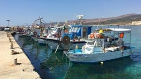 Moored fishing boats Stock Photo