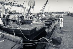 Moored fishing boats with drying nets in Nesebar Royalty Free Stock Photography