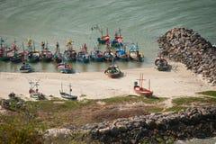 Moored fishing boats at Khao Tao beach. Royalty Free Stock Photos