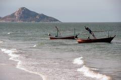 Moored fishing boats at Khao Tao beach. Royalty Free Stock Image
