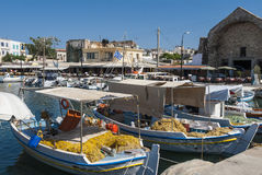 Moored fishingboats Chania Stock Image