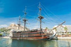 Moored Galleon 'Santisima Trinidad', Alicante, Spain Stock Photo