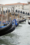 Moored gondolas Royalty Free Stock Photography