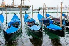 Moored gondolas to Venice, Italy, summer day. Stock Photo