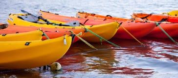 Moored kayaks Stock Photos