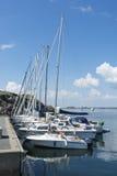 Moored leisureboats Landsort Stockholm archipelago Royalty Free Stock Images