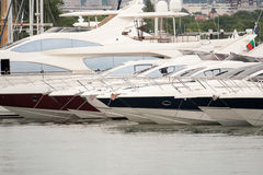 Moored luxury yachts Stock Photo