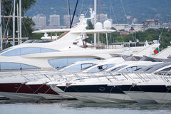 Moored luxury yachts stand on an anchor Royalty Free Stock Image