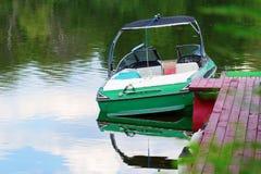 Moored motor boat Stock Photos