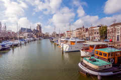 Moored motor yachts in a canal in the Dutch city of Dordrecht Stock Image