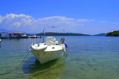 Moored motorboat in Ionian sea Royalty Free Stock Photography
