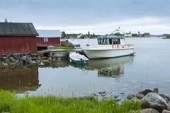Moored motorboat island Haapasaari Finland Stock Photos