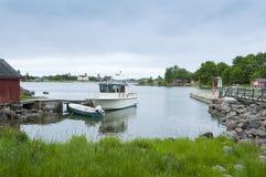 Moored motorboat island Haapasaari Finland Royalty Free Stock Image