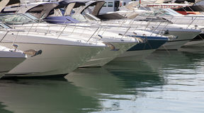 Moored motorboats Royalty Free Stock Photos