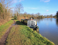 Moored Narrowboat on the River Thames Stock Photo