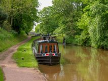 Moored narrowboat royalty free stock photos