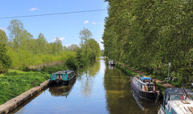 Moored Narrowboats on an English Canal Stock Photos