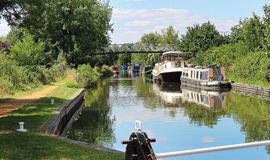 Moored Narrowboats on an English Canal Royalty Free Stock Photography