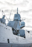 Moored naval ship. Moored naval ship with radar Stock Photos