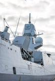 Moored naval ship. Stock Photos