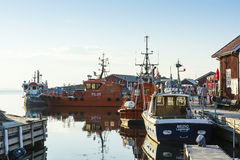 Moored pilot boats summer evening Royalty Free Stock Photography