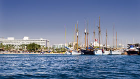 Moored pleasure yachts in Eilat Royalty Free Stock Images
