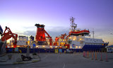 Moored research ship in the port Stock Image