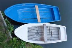 Moored rowboats. On riverbank in görlitz, saxonia, germany Royalty Free Stock Photos