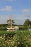 Moored sail boat at river frome Stock Image