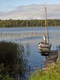 Moored sailboat. Mazury. Poland. Royalty Free Stock Photo