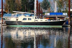 Moored sailboat, Portland OR. Stock Image