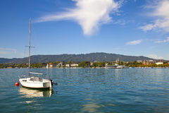 Moored sailboat in Zurichsee Stock Photo