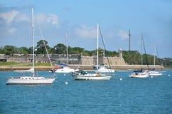 Moored sailboats Stock Photos