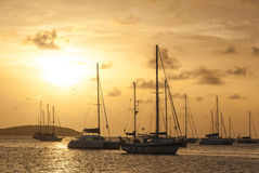 Moored Sailboats in a St. Martin Harbor II Royalty Free Stock Photography