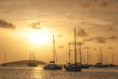 Moored Sailboats in a St. Martin Harbor III Stock Photo