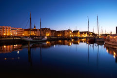 Moored sailing yachts in evening harbour. Greifswald Royalty Free Stock Image