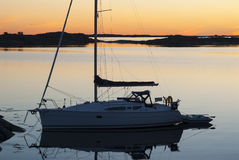 Moored sailingboat eveninglight Sweden Royalty Free Stock Photography