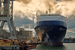 Moored ship. At Gdynia Harbor. Poland. Europe Royalty Free Stock Image