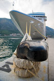 Moored ship. Mooring rope on a pedesta Stock Photo
