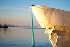 Moored ship. selective focus royalty free stock photography