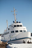 Moored small white passenger ship Royalty Free Stock Photo