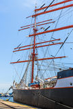 Moored tall ship Royalty Free Stock Photo