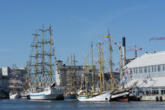 Moored tall ships Royalty Free Stock Photography