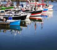 Moored trawlers. Row of moored trawlers in Saint Jean de Luz (Pays Basque, France Stock Image