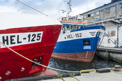 Moored trawlers Hel Poland. Moored trawlers in Hel fishing harbor. Puck County, Pomeranian Voivodeship, Poland, Europe Royalty Free Stock Images