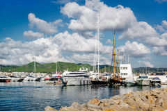 Moored vessels in the port of Ibiza Royalty Free Stock Images